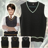 Wholesale xs women costumes online - Harry Potter Sweater Vest V neck Magic School Waistcoat Slytherin Gryffindor Ravenclaw Cosplay Costume Sweaters Men Women Uniform Sweater