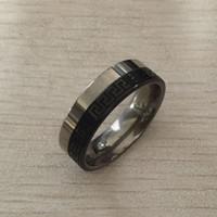 meninos anel preço venda por atacado-USpunk Punk preto prata aço inoxidável grego chaveiro 8mm homens meninos banda de casamento preço barato varejo Comfort-Fit, tamanhos 7-12