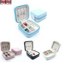 Wholesale zipper jewelry box resale online - Travel Cosmetic Leather Jewelry Box Necklace Ring Storage Case Organizer Display Necklace Storage Display Organizer