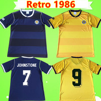 maillot de foot écossais achat en gros de-Coupe du monde 1986 maillots de foot jaune jaune bleu Retro 82 classic Vintage antique Collection de maillots de foot STACHAN SOUNESS McSTAY