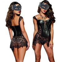 ingrosso vestiti burlesque corsetti-Lingerie sexy con set di perizoma donna Faux Leatherlace Burlesque Steampunk Corsetto abito vita gotico Bustier Corpetto Plus SizeQ190401