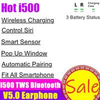 chip para teléfonos al por mayor-Auriculares aire i500 TWS inalámbrica Bluetooth 5.0 Touch Auriculares del auricular del auricular de carga ventana emergente Auriculares de vainas para el teléfono H1 W1 de la viruta