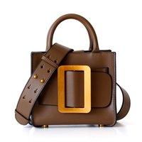 bolsos decorados al por mayor-Bolso de hombro del bolso del diseñador de la correa de la hebilla de Square D Decoración de cuero real