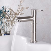 Wholesale stainless steel sink for sale - Group buy Basin Faucet Stainless Steel Brushed Bathroom Single Cold Sink Basin Mixer Tap Bathroom Torneira do banheiro