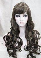 Wholesale brown wavy medium length wigs for sale - Group buy WIG gt Medium Brown with Blonde Long Wavy Women Ladies Daily wig