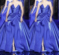Wholesale couture prom dresses resale online - Elie Saab Couture Fashion Sweetheart Neck Royal Blue Prom Dresses Long Sleeve Satin Sweep Train Formal Occasion Prom Party Dress