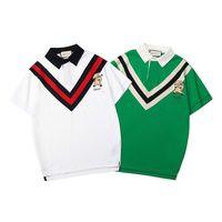 зеленые воротнички рубашки поло оптовых-Новая мужская рубашка поло с коротким рукавом с короткими рукавами, вышитая принтом, летняя рубашка белого цвета