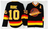 vente de chandails de hockey vierges achat en gros de-Hommes Vancouver Canucks # 10 Pavel Bure Vintage Hockey Sur Glace Blanc Cousu Broderie Uniformes Chemises Sports Maillots Sz M-XXXL À Vendre