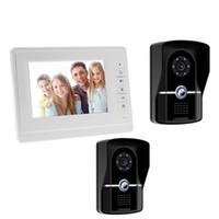 video erişim kontrolü toptan satış-7 inç TFT renkli görüntülü interkom kapı zili kiti kızılötesi kamera erişim kontrolü monitör telsiz video interkom sistemi