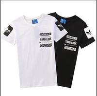 spor tişörtleri yaka toptan satış-Moda T-shirt yaz erkek kısa kollu O yaka pamuklu Tişört rahat spor T-shirt yeni trend erkekler hip hop tarzı ücretsiz kargo