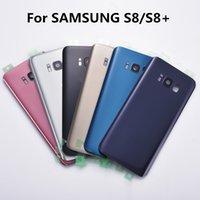 задний корпус samsung оптовых-Замена заднего стекла для Samsung Galaxy S8 G950 / S8 + S8 Plus Восемь G955 G955F s8plus Крышка аккумуляторного отсека Задняя дверь Корпус Чехол