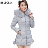 Wholesale red black long hair resale online - Plus Size Clothes Korean Fashion Overcoat Mid Length Parka Feminina Big Hair Collar Down Cotton Female Winter Jacket Women A450