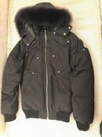 siyah kürk kapüşonlu ceket erkek toptan satış-@ Sandra_studios Klasik erkekler siyah balistik bombacı Ceket siyah tilki kürk yakalı makas ile kapüşonlu kol İsveç mäns dunjacka