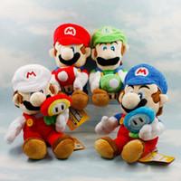 brinquedos de super mario plush venda por atacado-2019 novos chegada 4 estilos Mario Mushroom brinquedos de pelúcia Luigi Cogumelos 18cm crianças Super Mario Bros Plush Super Mario Bros brinquedos jogo DHL