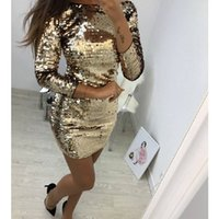 Wholesale sequined dresses for sale - Group buy Newly Autumn Sexy Women Ladies Party Dress Sequined Long Sleeve Solid Skinny Round Neck Mini Dress