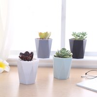 Wholesale MOQ Small Colorful Plastic Flower Grow Pot Geometric Sturdy Succulent Cutting Seeds Nursery Starter Pot Planter quot