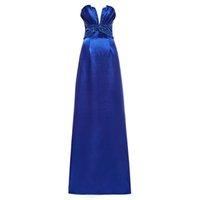 бисером плиссированные платья оптовых-Dressv королевский синий длинное вечернее платье дешевые без бретелек бисером складки свадьба вечернее платье оболочка вечерние платья
