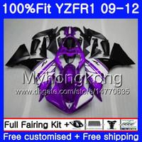 12 carenados morados al por mayor-Inyección para YAMAHA YZF 1000 R 1 YZF R1 2009 2010 2011 2012 Morado blanco caliente 241HM.33 YZF-1000 YZF-R1 YZF1000 YZFR1 09 10 11 12 Kit de carenado