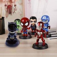 ingrosso figure di animazione-3 pcsDe.soul Per Marvel Avengers Heros Figura Decorazione Solare Animazione Altalene Auto Ornamenti Regali Creativi Cruscotto Bambola C19041201