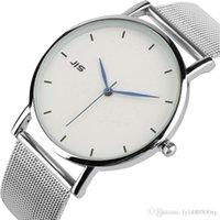 reloj de lujo hombres delgados al por mayor-Marca JIS Reloj Minimalista de Lujo para Hombres Reloj de Cuarzo Ultra Delgado Mujer Moda Plata Metal Red de Hierro Web Malla de Cuarzo Reloj de pulsera Reloj H