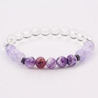 braceletes de grânulos dos eua venda por atacado-2019 eua moda jóias das mulheres luz roxa pedra 8mm natural beads pulseira para venda 5 pçs / set