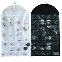 Wholesale roll up door resale online - 32 pocket jewelry organizer Hanging Jewelry Organizer dual sided Bag Clear PVC Plastic Windows Roll Up Portable Rings Earrings Necklaces