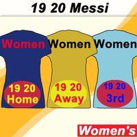 camisas uniformes azuis venda por atacado-19 20 barcelona MESSI GRIEZMANN Camisolas de Futebol SUAREZ PIQUE A. INIESTA Casa Azul Fora Amarelo Camisas de Futebol RAKITIC RAFINHA Uniformes de Senhora Curta