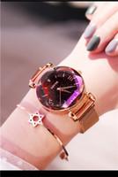 bracelet magnétique diamant achat en gros de-Montres de luxe pour dames Étoiles de sable bleues Diamant étincelant Montre à la mode paresseuses Montre à bracelet magnétique Montre créative