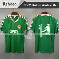 Wholesale ireland football jersey for sale - Group buy 1990 Ireland retro soccer jersey world cup Ireland green home classic jersey world cuvintage Irish Classic football shirts