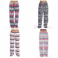 Wholesale leg plush for sale - Group buy Women plush Christmas Floral Pants Flare Wide Leg Long Pants Palazzo Trousers Pant deer Boho Bohemian Vintage elk loose Pants LJJA3156