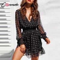siyah polka noktalı gömlek toptan satış-Conmoto Dantel Örgü Uzun Kollu Siyah V Yaka Polka Dot Kadınlar Yaz Casual Fırfır Seksi Gömlek Elbise Vestidos Q190511