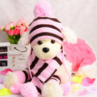 Wholesale 3Pcs Set The Pet Striped Hat Three Suit Feet Scarf Accessories Fit For Almost All Of Your Pet XXS XS S M L