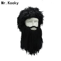 Wholesale funny hat beard resale online - Mr Kooky Men s Women s Crazy Wig Beard Savage Beanie Vagabond Hats Handmade Winter Birthday Gifts Funny Ski Mask Halloween Caps MX191116