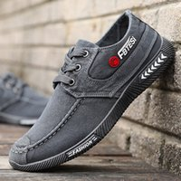 Wholesale denim korean canvas shoes for sale - Group buy Spring and autumn new Korean version of the denim lace up canvas shoes breathable casual slip wear old Beijing shoes
