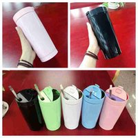 Wholesale brush vacuums resale online - 20oz Skinny Tumblers Stainless Steel Straight Cups Coffee Beer Mug Vacuum insulation Water Bottle With Lid Straws And Brush ZZA2364