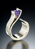 фиолетовые мужские кольца оптовых-Charm Male Female Small Purple Stone Ring  Silver Color Wedding Rings Promise Engagement Rings For Men And Women