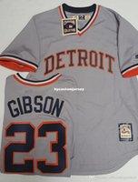 camisetas de retroceso majestuoso al por mayor-Barato KIRK GIBSON # 23 DETRIOT HOMBRES THROWBACK JERSEY MAJESTIC Jerseys de béisbol cosidos