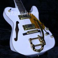 tl gitarrenkörper großhandel-JEW6148 Semi Hollow Body TL E-Gitarre Gold Hardware Weißer Anstrich