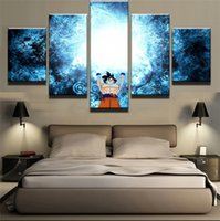 Wholesale sun room panels online - 5 Pieces Posters and Prints Performing cartoon Dragon Ball Sun WuKong modern Oil Painting Canvas Wall Pictures Living Room Home Decor S