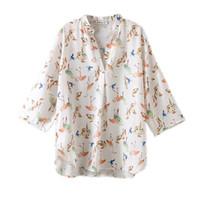 camisa de gasa de las señoras coreanas al por mayor-Primavera Impreso Blusa Mujer Elegante 2019 V Cuello Tallas grandes Blusa Oficina Señoras Tops Moda coreana Camisas de gasa Mujeres