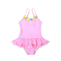 Wholesale bodysuit girl kids for sale - Group buy Cute Kids Swimsuit Bathing suit One piece Swimwear Flowers Pink Striped Bodysuit Petal skirt Export Summer Boutique
