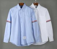 camiseta de los hombres ocasionales al por mayor-19SS para hombre diseñador thom camisetas browne TB clásico doble manga Tri Color Ribbon moda manga larga camisa THOM para hombre camiseta casual
