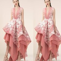 Wholesale red irregular skirt resale online - 2020 High Low Coral Prom Dresses White Lace Irregular Skirt Deep Plugging Organza Cheap Formal Evening Gowns Party Turkey Wear Maxi Dress