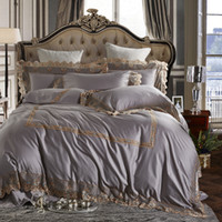 Wholesale bedspread grey king size beds online - Queen Double King Size Egyptian cotton Duvet cover Bedding set and Bed set Luxury Royal Grey Pink color Bed sheet Bedspread set