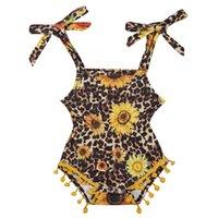 mamelucos chicas venta al por mayor-INS venta caliente al bebé del estampado leopardo mameluco floral mamelucos del niño recién nacido se prepara mono del bebé ropa de niña bebé ropa de diseño A8194