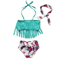девочки-танкини оптовых-Emmababy 3pcs!!Children Baby Girl Tankini Bikini Suit Tassel Floral Swimwear Swimsuit Headband Bathing Costume
