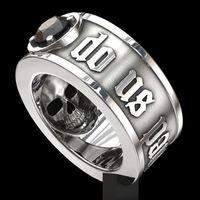 schwarzer diamant-bandring großhandel-'Till Death Do Us Part' Edelstahl-Schädel-Ring Black Diamond Punkhoch Verpflichtungs-Schmucksachen für Männer Größe 6-13