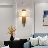 kumaş lambalar toptan satış-Modern Yaratıcı Tasarım Altın LED duvar işık Aplik Asılı Oturma Odası Yatak Odası Işıkları Için Lüks kumaş Kapak Duvar lambası