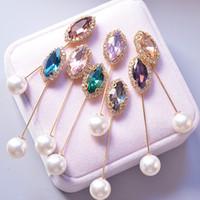 gelinlik broşları toptan satış-Bling Bling Rhinestone Broş Takım Yaka Pin Düğün Gelin Elbise Broş Pin Hediye Aşk Mix Renk Toptan için Fiyat