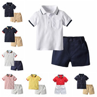Wholesale baby boy leopard clothes for sale - Boy designer Clothing Set Summer baby boys Clothes Suit Shorts Sleeve Tops Shorts Outfits Children Casual Tracksuit boutiques clothing